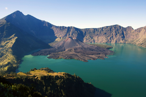 Rinjani volcano and Lombok Island in Indonesia