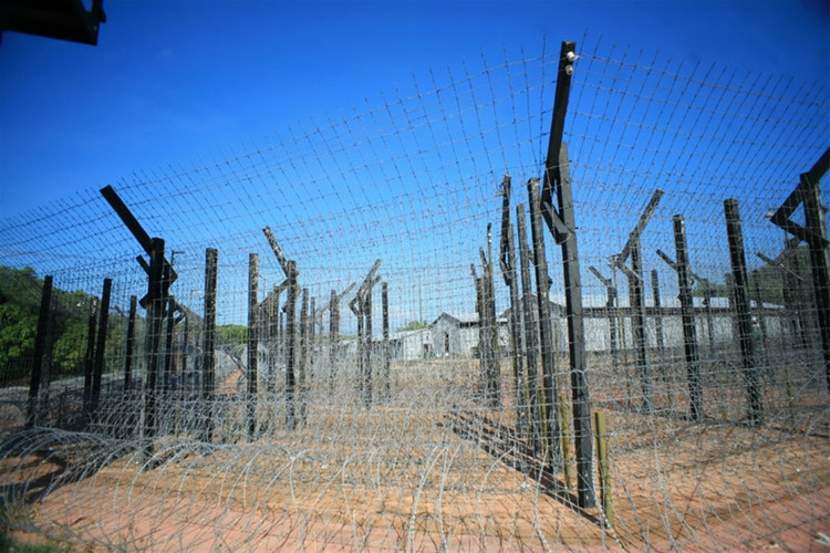 Spanning an area of 40 hectares, the prison is surrounded by dense barbed wire fences.