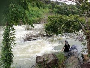 Cooling down at Hoa Binh Waterfall