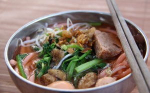 A red noodle soup for chilly evenings