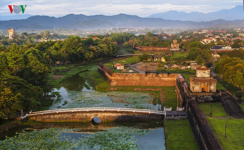 First rays of sunshine strike Gates of Hue Imperial City.