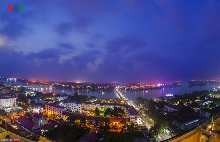 Truong Tien Bridge in the evening from the highest point in Hue City.